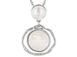 Pre-Owned White Cultured Freshwater Pearl & Mother-of-Pearl Rhodium Over Sterling Silver Pendant