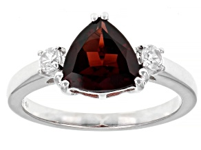 Pre-Owned Red Garnet Rhodium Over Sterling Silver Ring 2.41ctw