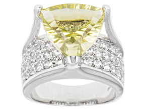 Pre-Owned Yellow Brazilian Quartz Rhodium Over Sterling Silver Ring 5.89ctw.