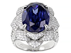 Pre-Owned Blue And White Cubic Zirconia Rhodium Over Sterling Silver Ring 16.46ctw