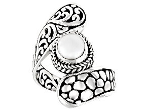 Pre-Owned White Cultured Freshwater Pearl Silver Ring