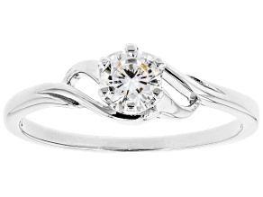 Pre-Owned White Cubic Zirconia Rhodium Over Sterling Silver Promise Ring 0.55ctw
