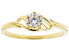 Pre-Owned White Cubic Zirconia 18K Yellow Gold Over Sterling Silver Promise Ring 0.55ctw