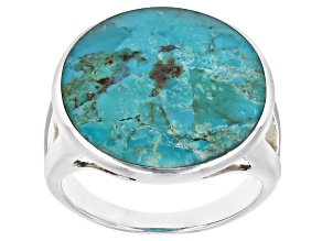 Pre-Owned Blue Turquoise Rhodium Over Sterling Silver Inlay Ring