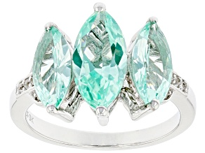 Pre-Owned Lab Created Green Spinel Rhodium Over Silver Ring 3.52ctw