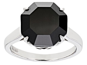 Pre-Owned Black Spinel Rhodium Over Sterling Silver Solitaire Ring 7.08ct