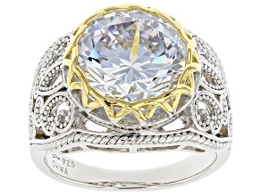 Pre-Owned White Cubic Zirconia Rhodium And 14K Yellow Gold Over Sterling Silver Ring 10.32ctw