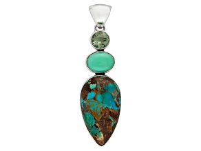 Pre-Owned Blue Boulder Turquoise Sterling Silver Pendant 1.80ct