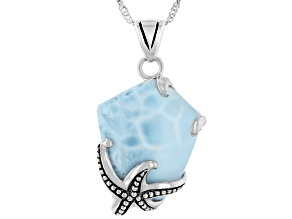 Pre-Owned Blue Larimar Rhodium Over Sterling Silver Pendant With Chain