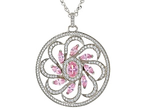 Pre-Owned Pink And White Cubic Zirconia Rhodium Over Sterling Silver Flower Pendant With Chain 6.79c