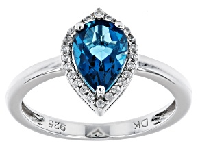 Pre-Owned London Blue Topaz Rhodium Over Sterling Silver Halo Ring 1.43ctw