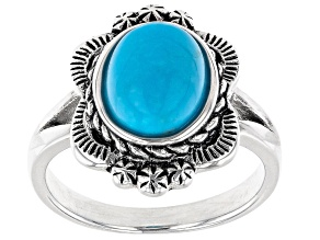 Pre-Owned Sleeping Beauty Turquoise Rhodium Over Sterling Silver Floral Design Ring