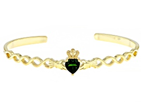 Pre-Owned Chrome Diopside 18K Yellow Gold Over Silver Claddagh Cuff Bracelet 1.04ct