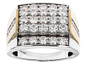 Pre-Owned Moissanite platineve and 14k yellow gold over platineve mens ring 2.74ctw DEW.