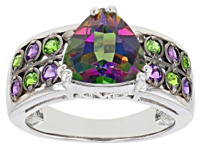 Pre-Owned Green Mystic Topaz Rhodium Over Silver Ring 3.27ctw