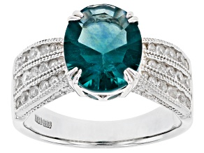 Pre-Owned Blue Teal Fluorite Rhodium Over Sterling Silver Ring 4.20ctw