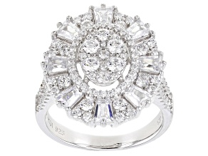 Pre-Owned White Cubic Zirconia Rhodium Over Sterling Silver Ring 1.95ctw