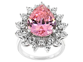 Pre-Owned Pink And White Cubic Zirconia Rhodium Over Sterling Silver Ring 14.04ctw