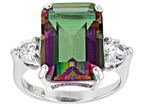 Pre-Owned Multi-color Quartz Rhodium Over Sterling Silver Ring 6.30ctw