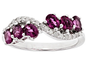 Pre-Owned Raspberry Color Rhodolite Rhodium Over Sterling Silver Ring 0.91ctw