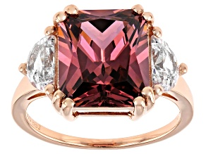 Pre-Owned Blush And White Cubic Zirconia 18k Rose Gold Over Sterling Silver Ring 12.06ctw