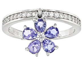 Pre-Owned Blue Tanzanite Rhodium Over Silver Charm Ring 0.94ctw