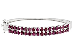 Pre-Owned Red Ruby Rhodium Over Sterling Silver Bangle Bracelet 7.65ctw
