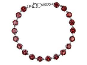 Pre-Owned Red Garnet Rhodium Over Sterling Silver Bracelet 17.44ctw