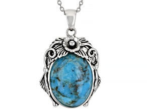 """Pre-Owned Turquoise Rhodium Over Silver Pendant With 18"""" Chain"""