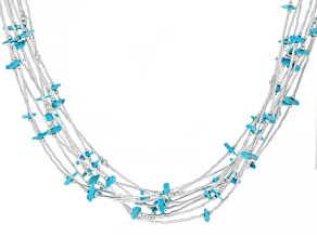 Pre-Owned Sleeping Beauty Turquoise Liquid Silver Multi-Strand Necklace