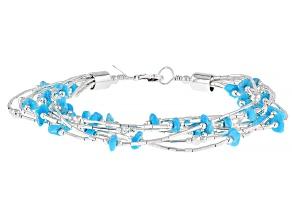 Pre-Owned Sleeping Beauty Turquoise Liquid Silver Bracelet