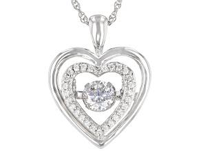 Pre-Owned Cubic Zirconia Rhodium Over Sterling Silver Dancing Heart Pendant With Chain 1.41 ctw