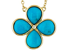 Pre-Owned Turquoise And White Topaz 18k Yellow Gold Over Brass Necklace