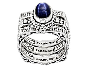 Pre-Owned Blue Star Sapphire Sterling Silver Solitaire Ring