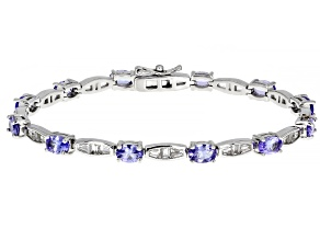Pre-Owned Blue Tanzanite Rhodium Over Sterling Silver Bracelet 7.35ctw