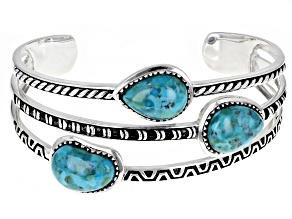 Pre-Owned Turquoise Rhodium Over Sterling Silver 3-Stone Cuff Bracelet
