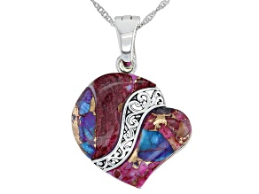 """Pre-Owned Blended Purple Spiny Oyster Shell & Turquoise Rhodium Over Silver Heart Enhancer with 18"""""""
