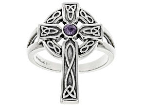 Pre-Owned Charoite Sterling Silver Celtic Cross Ring