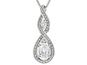 Pre-Owned White Lab Created Sapphire Rhodium Over Silver Pendant With Chain 1.23ctw