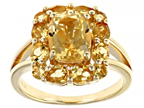 Pre-Owned Yellow Citrine 18k Gold Over Sterling Silver Ring 2.28ctw