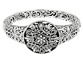 """Pre-Owned Sterling Silver """"Growing In Wisdom"""" Floral Bangle Bracelet"""