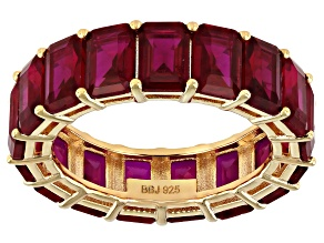 Pre-Owned Red Lab Created Ruby 18k Yellow Gold Over Sterling Silver Band Ring 10.80ctw