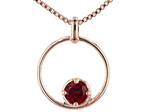 """Pre-Owned Red Garnet Copper Birthstone Pendant With 18"""" Chain 0.92ct"""