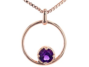 """Pre-Owned Purple African Amethyst Copper Birthstone Pendant With 18"""" Chain 0.64ct"""