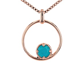 """Pre-Owned Blue Turquoise Copper Birthstone Pendant W/ 18"""" Chain"""