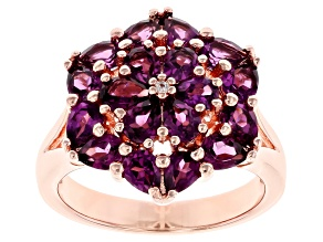 Pre-Owned Raspberry Color Rhodolite  18k Rose Gold Over Silver Ring 2.71ctw