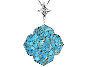 "Pre-Owned Copper Turquoise & Magnesite Silver Pendant W/ 32"" Chain"