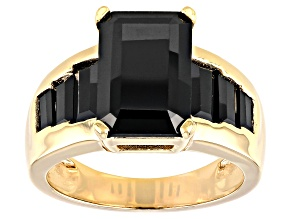 Pre-Owned Black Spinel 18K Yellow Gold Over Sterling Silver Ring 7.16ctw