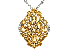 Pre-Owned Yellow Citrine 18K Yellow Gold Over Silver Pendant With Chain 3.43ctw