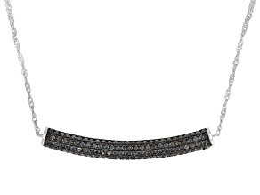 Pre-Owned Black Spinel Rhodium Over Sterling Silver Necklace 2.07ctw
